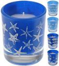 Sviečka modrastá s hviezdicami - mušľami / 490016