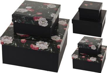 Krabička čierna veko s ružami,  malá