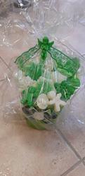Ikebana z mydielok zeleno biela malá