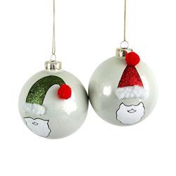 Vianočná guľa biela s mikulášom