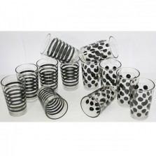 Poháre sklenené čierne pruhy a bodky 3 kusy / 420534