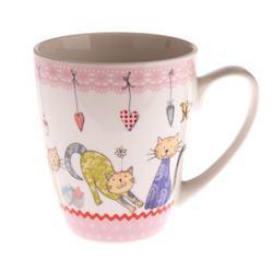 Šálka s farebnými mačičkami ružový lem / CR SAL192049