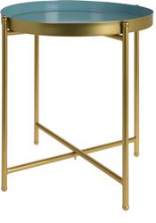 Stolík okrúhly so zlatými nohami, tyrkysový