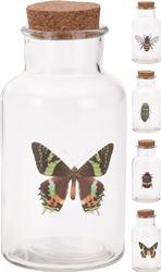 Sklenená fľaša s korkovou zátkou motív hmyz